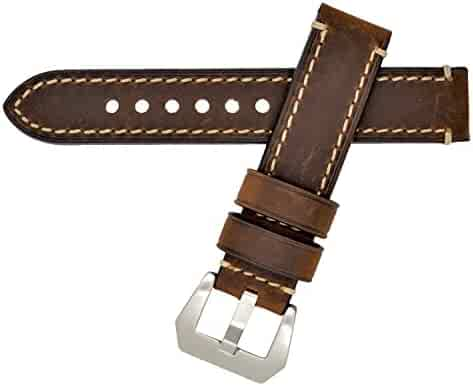Dark Brown 20mm Genuine Leather Wristwatch Watch Band Oil Tan Vintage Strap for Men with Stainless Buckle
