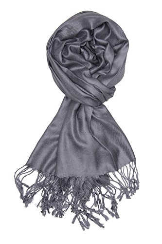 Achillea Large Soft Silky Pashmina Shawl Wrap Scarf in Solid Colors (Dark Grey) -