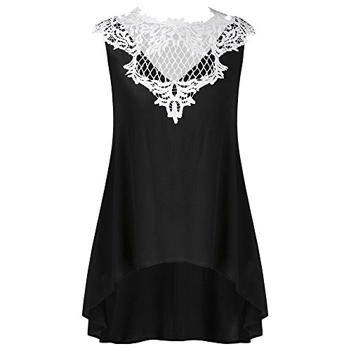 (Leyorie Blouses Vest Tops Irregular Hem Lace Stitching Neckline Camisole Sleeveless Women Casual Shirt Tank Top(Black,S))