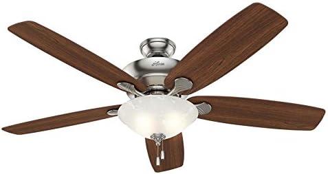 Hunter Regalia 60-in Brushed Nickel Indoor Downrod Or Close Mount Ceiling Fan