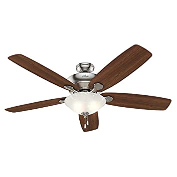 Hunter Regalia 60-in Brushed Nickel Indoor Downrod Or Close Mount Ceiling Fan with Light Kit