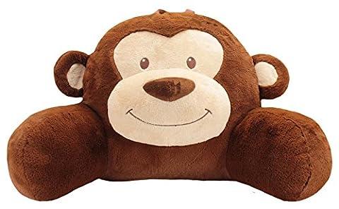 Sweet Seats Face Cushion Monkey Plush Character Pillow, Brown, 14