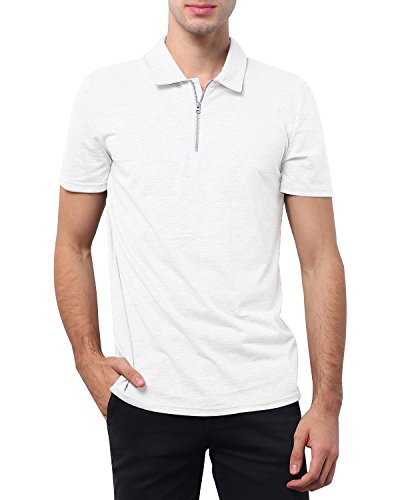 MODCHOK Men's Short Sleeve T Shirts Slim Fit Polo Shirts Zip Up Cotton Tee Tops Off White XL