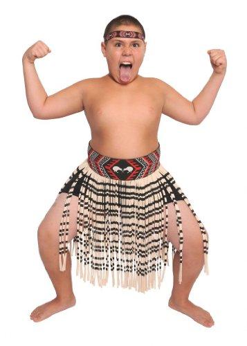 [Boy's 3-Piece Kapa Haka Maori Costume-2XL / 32 inch waist.] (Tiki Costumes)