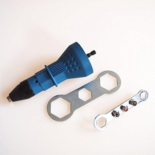 RaiFu コードレスドリル用 リベットガン リベットナットガン 電気 アダプタ インサートナットツール 多機能 釘ガン リベットガンアクセサリー ブルー