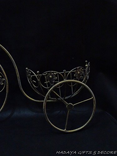Antique Golden bronze Wrought Iron Tricycle Shaped Planter Double Basket Planter Holder for Indoor or Outdoor Use. Finished in Powder Coated Antique Golden Gives This a nostalgic Look