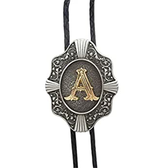 Scheppend Classical Gold Plated Capital Letters Western Cowboy Bolo Tie,Letter A