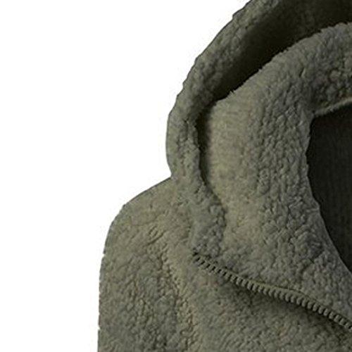 Abrigo Imjono Caliente Con Invierno De Algodón Cremallera Las Lana Capucha Jacket Mujeres Verde Outwear pdrqd