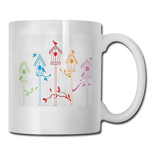 - Birds Porcelain Mugs for Coffee Sweet Colorful Bird Houses Nest with Flying Birds on the Roof Branches Animal Life Beverage Multicolor 11oz