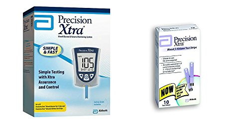 Precision Xtra Blood Glucose & Ketone Monitoring System Bundle with 10 Precision Xtra Ketone Test Strips