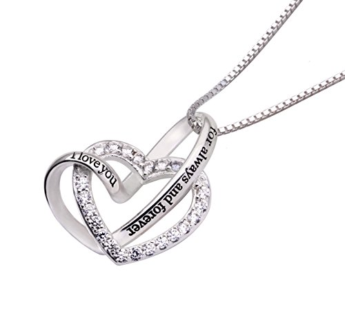 ALOV Jewelry Sterling Silver I Love You for Always and Forever Love Heart Cubic Zirconia Necklace