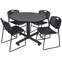 Regency Kobe 48-Inch Round Breakroom Table, Grey, and 4 Zeng Stack Chairs, Black