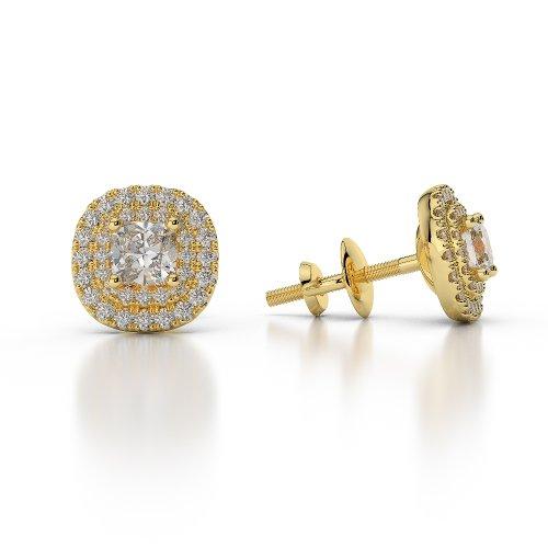 Or jaune 18carats/CT G-H/VS sertie de diamants taille ronde Halo Boucles d'oreilles Agder-1014
