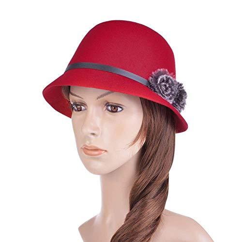 Pie Felt Pork Fur (Women Wide Brim Fedora Hat Wool Pork Pie Flat Top Dome Hat Faux Fur Pompon Felt Cap Bowler Hat,Red)