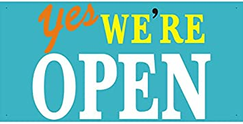 Amazon.com : bn0609 Yes! We're Open Welcome Opening Banner Sign ...