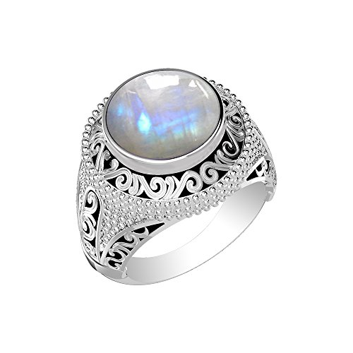 (5.70ctw, Genuine Rainbow Moonstone Round & .925 Silver Plated Cocktail Solitaire Ring Size-11)