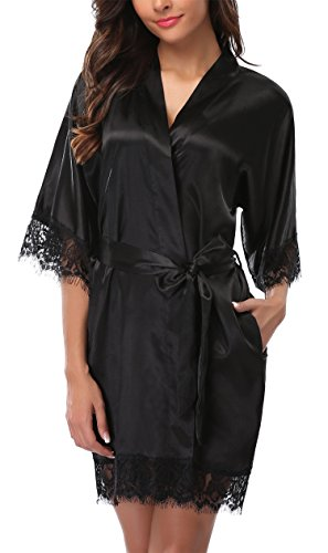 Giova Women's Lace Trim Kimono Robe Nightwear Nightgown Sleepwear Satin Short Robe Black Medium ()