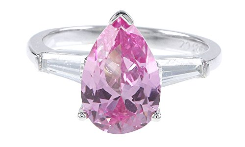Jewel Zone US 4 Ct Simulated Pink Sapphire Pear Shape Solitaire Ring in 14K Gold Over Sterling Silver