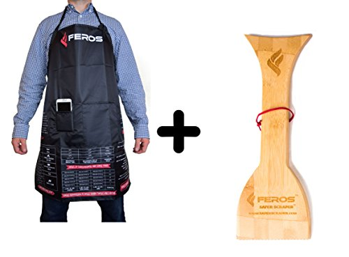 FEROS KIT - (2 Items!) FEROS Cheat Sheet BBQ Apron + Safer Scraper Large Wood BBQ Wooden Grill Cleaner
