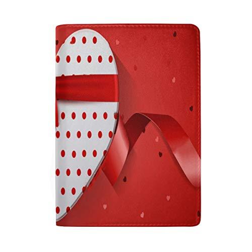 Passport Holder Happy Valentine's Day Red Web Banner Passport Cover Case Wallet Card Storage Organizer for Men Women Kids