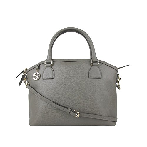 Gucci GG Charm Grey Leather Large Convertible Dome Bag With Detachabel Strap 449660 (Gucci Ladies Bags)