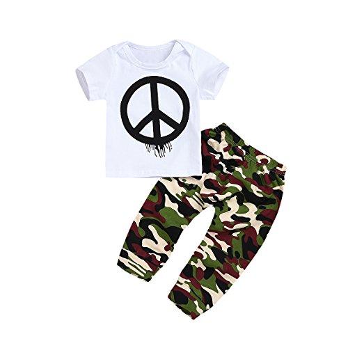 hirigin Camisetas de Manga Corta y Pantalones Largos de Camuflaje para Bebe-niños 80 Camuflaje