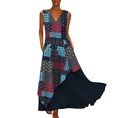Women Vintage Maxi Sleeveless O Neck Plus Size Bohemian Print Plaid Long Dress
