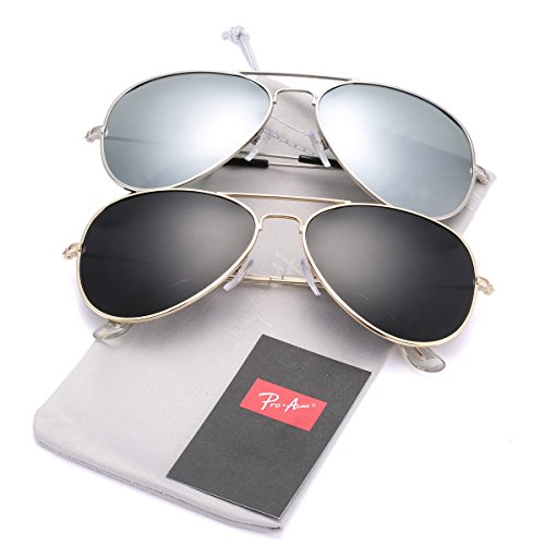 Pro Acme Classic Polarized Aviator Sunglasses for Men and Women UV400 Protection (2 Pairs) Gold Frame/Black Lens + Silver Frame/Silver Mirrored ()