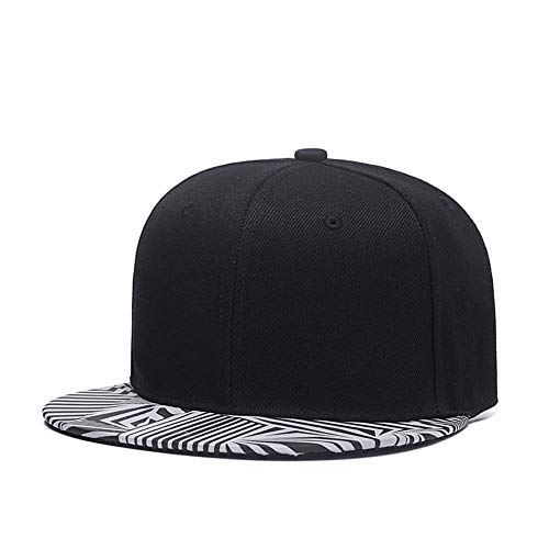Reflective Snapback Hat,Cool Mens Women Flat Bill Brim Hip Hop Baseball Cap Black ()