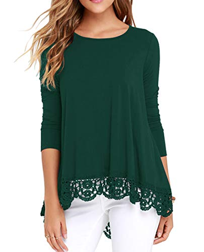 - QIXING Women's Tops Long Sleeve Lace Trim O-Neck A-Line Tunic Blouse Dark Green XL