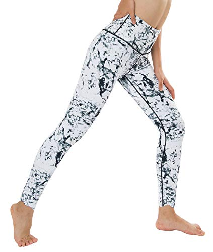 Dragon Fit Compression Yoga Pants with Inner Pockets in High Waist Tummy Control Power Stretch Workout Yoga Leggings (Small, Marble-7-8 Leggings) ()
