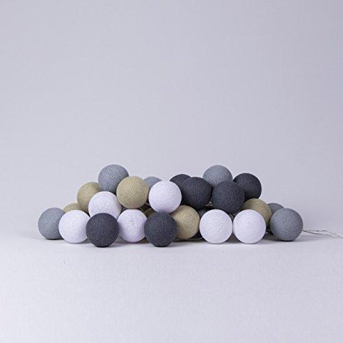 Cotton Ball Lights Sand-Grey 20 Lichterkette, Baumwolle, Mehrfarbig 716855431554