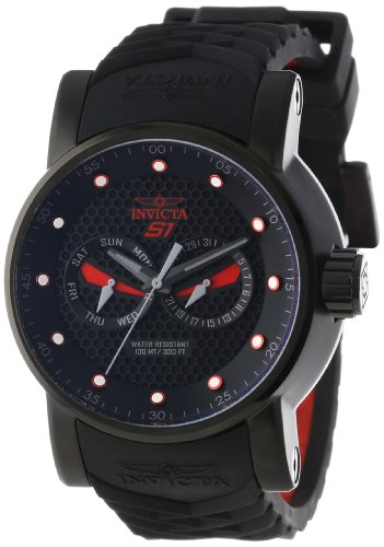 Invicta Men's 12787 S1 Rally Black Textured Dial Black and Red Silicone Watch ()