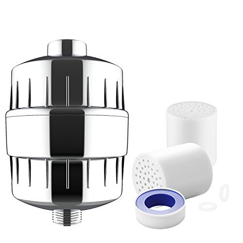 BATHWA Shower Filter with 2 Replaceable Multi-Stage Filter Cartridge, Universal Bath Water Purifier, Remove Chlorine, Heavy Metals, and Impurities
