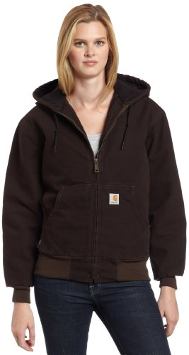 Carhartt Women's Quilted Flannel Lined Sandstone Active Jacket WJ130,Dark (Carhartt Flannel Lined Duck Dungarees)