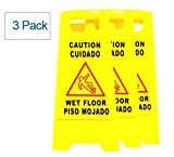 Hotelware (Pack of 3) 2-Sided Folding Wet Floor Caution Safety Sign, Yellow