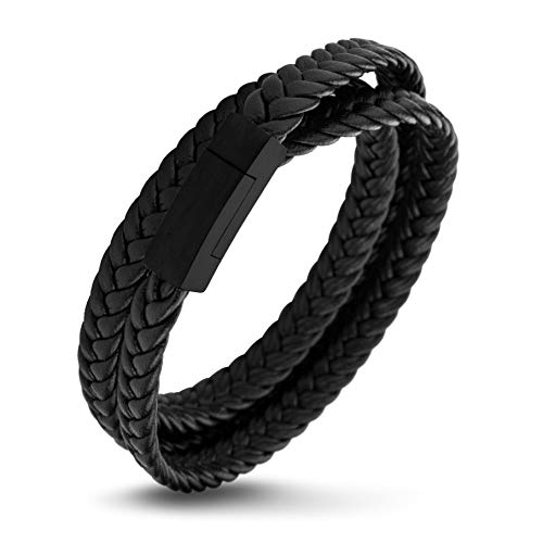 555Jewelry Stainless Steel Braided Double Wrap Leather Twist Rope Chain Cord Adjustable Magnetic Clasp Simple Men Women Unisex Fashion Jewelry Accessory Bangle Bracelet, Black & Black 9 Inch