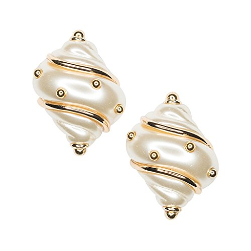 Pearlized Shell Clip Earring with Gold Accents Costume Jewelry