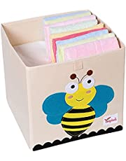 Lenosed Kids' Toys Storage Boxes Bins Foldable Washable Canvas Basket Organizer for Clothes Toys Books 33x33x33cm