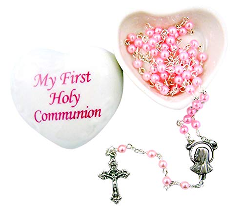 First Communion Porcelain Heart Rosary Keepsake Box with Pink Rosary, 2 1/2 inches