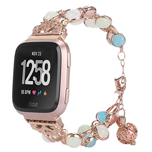 TILON Compatible for Fitbit Versa Band, Adjustable Metal Link Wristband Handmade Night Luminous Pearl iWatch Bracelet with Essential Oil/Perfume Storage Pendant for Women/Girls(Rose Gold)