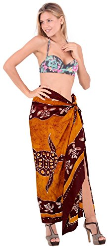 Marrone sarong LA regali batik m611 donne coprire hawaiian pareo bagno bagno da costumi involucro da mano bagno LEELA resort beachwear costume SIHIrqp