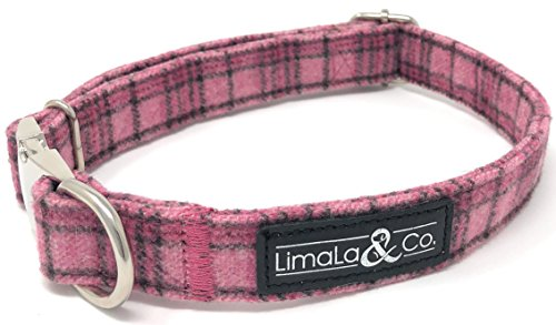 LimaLa & Co. Patterned Adjustable Puppy Dog Collar: Premium Stylish Collars Dogs Metal Buckle, Sizing Clip D-Ring - Male Female Dog Accessories Cute Pet Supplies - Pink Plaid, Large - Female Buckle