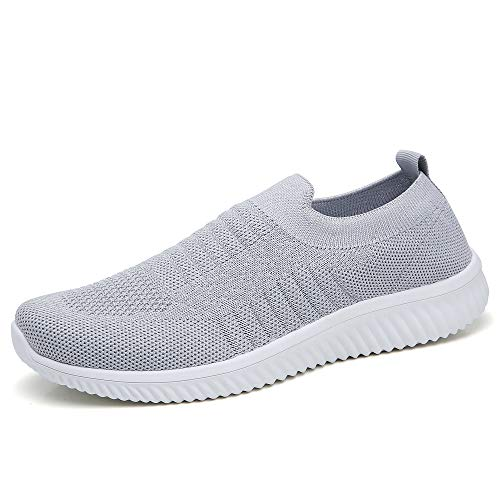 HKR Womens Tennis Waking Shoes Lightweight Knit Work Sneakers Casual Mesh Athletic Slip On Running Shoes 5.5 US Grey(WD003huise35)