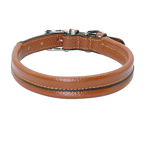 PET ARTIST Round Handcraft PaddedLeather Dog Collars Extra Soft for XSmall Small Medium Dogs Cats Puppy Chihuahua Pink Black Brown -