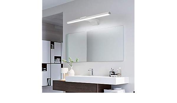 La manera llevó Luces de espejo L400 / 600 / 800mm delantero espejo del baño Luz Aseo AC110-220V Negro acabado en blanco de la lámpara del espejo Iluminación Colgante (Color Temperature :
