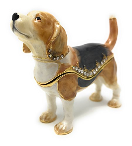 Kubla Crafts Enameled Beagle Trinket Box by, Accented with Austrian Crystals