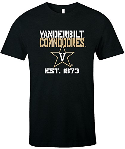 NCAA Vanderbilt Commodores Est Stack Jersey Short Sleeve T-Shirt, Black,Large