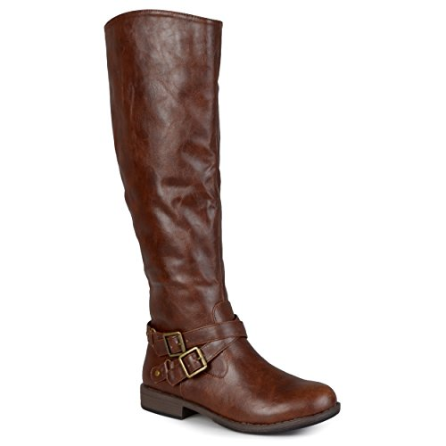 Journee Collection Womens Regular Sized and Wide-Calf Ankle-Strap Buckle Knee-High Riding Boot Brown, 8.5 Wide Calf US