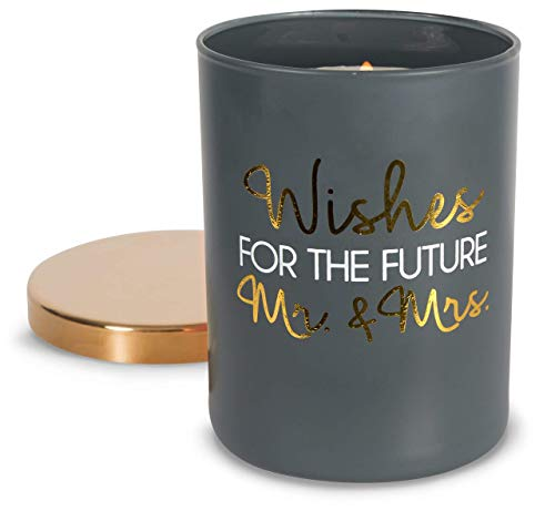 (Pavilion Gift Company Wishes for The Future Mr & Mrs-7 oz Lead Free Wick in Glass Jar 7oz 100% Soy Wax Candle Scent: Citron de Vigne, Grey)